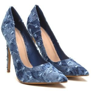 Asiah Distressed Blue Denim Pointed Toe Pumps